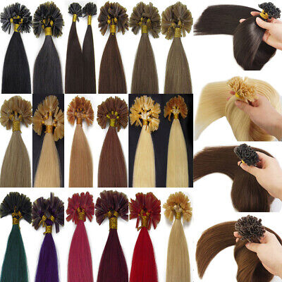 $29.77 • Buy Per Bonded Keratin U Tip Remy Human Hair Extensions Double Drawn Thick Full 1g/s