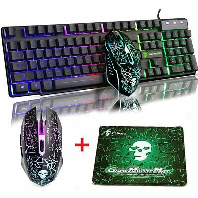 AU28.90 • Buy Gaming Keyboard And Mouse Set Rainbow Backlight LED Wired USB For PC Laptop AU