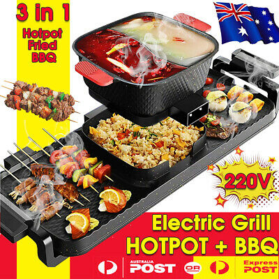 AU81.78 • Buy 3 In 1 Electric BBQ Hot Pot Pan Plate Shabu Oven Grill Boil Cook Barbecue Hotpot