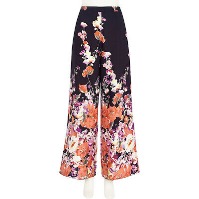 River Island Floral Print Wide Leg Trousers Palazzo Size 14 • 18£