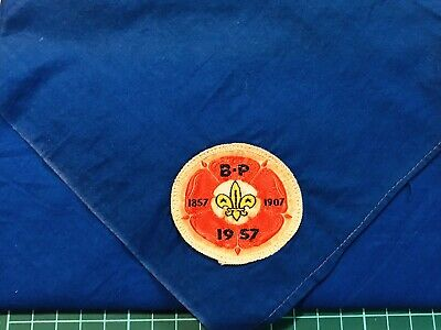 1957's World Scout Jamboree Participant Neckerchief Blue-Arrowe Park Sub-camp • 12£