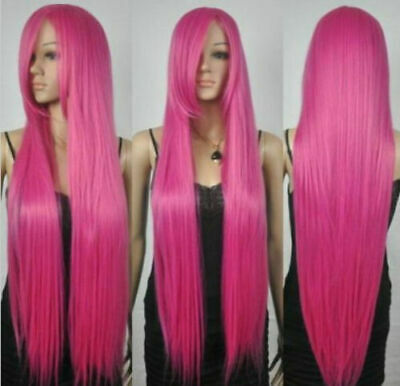New Extra Long Straight Rapunzel Tangled Hot Pink Bangs Cosplay Hair Wigs • 15.50£