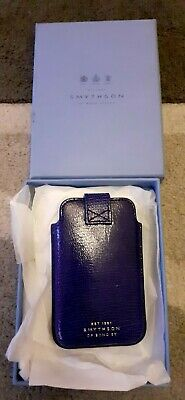 Smythson Of Bond Street BNWT Blue Leather Pouch Boxed • 21£