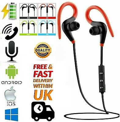 Wireless Bluetooth V4.0 Earphones Sweatproof Headphones Sport Gym Samsung IPhone • 3.89£