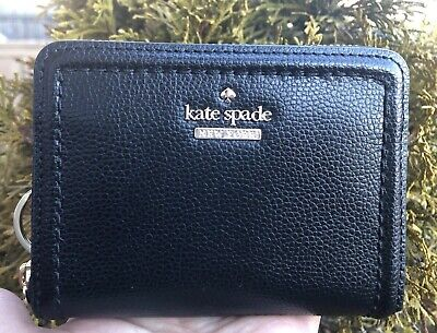 $ CDN60.60 • Buy  Kate Spade Dani Patterson Drive Black Leather Zip Around Wallet + Key FOB New