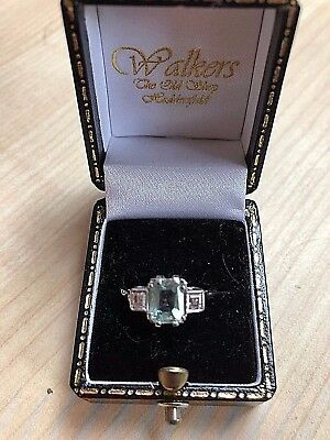 Art Deco Aquamarine And Diamond Ring • 750£