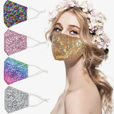 AU14.84 • Buy Rhinestone Reusable Washable Crystal Glitter Sparkly Bling Cloth Face Mask Cover