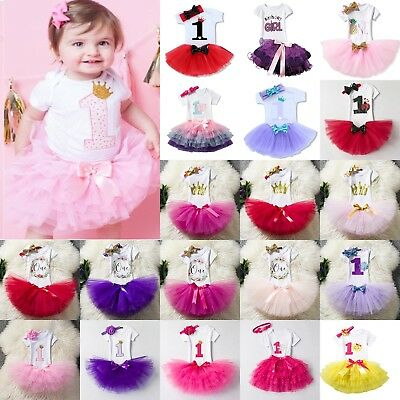 AU23.46 • Buy Baby Girl First 1st Birthday Outfits Cute Skirt Dress+Headband Cake Smash Party