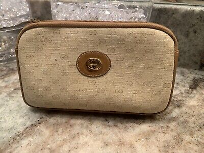 $55 • Buy Authentic Gucci VINTAGE 1980's Gold Toned Monogram Cosmetic Bag And Coin Pouch