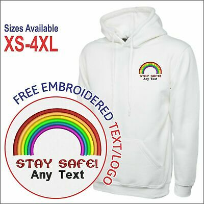Personalised STAY SAFE RAINBOW Embroidered Logo Thank You Key Workers Men Hoodie • 16.99£