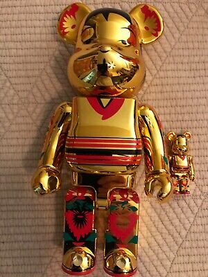 $175 • Buy Medicom 400% + 100% Kokebrick Kabuki Be@rbrick Gold Excellent Condition No Box