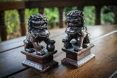 Vintage - Foo Dogs Guardian's - Pair Of Statues - Lovely Detail - Unique  • 29.99£