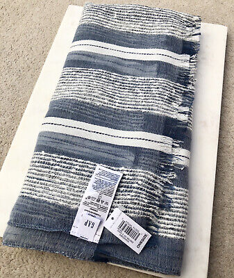 Gap Fringed Edge Blue & White Striped Scarf Frayed Sheer Fabric / Brand New • 7.99£
