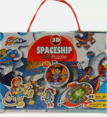 Grafix Spaceship 3D Outer Space 45 Piece Jigsaw Puzzle New Boxed • 3£