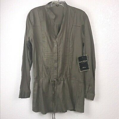 LOVE STITCH Tie String Tunic Top, Long Sleeve Green Women's M NEW • 17.91£