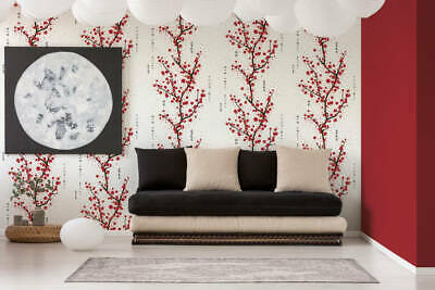£17.98 • Buy Oriental Japanese Chinese Cherry Blossom White Red Black Trees Floral Wallpaper