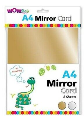 A4 Mirrored Card, 8 Sheets, Gold And Silver, Perfect For All Crafts! • 2.80£