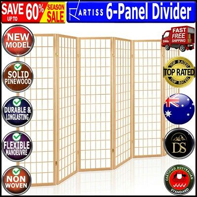 AU173.16 • Buy Artiss 6 Panel Room Divider Privacy Screen Foldable Pine Wood Stand Natural New