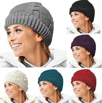 £5.79 • Buy NEW Womens Ladies Cable Knit Winter Beanie Hat Faux Fur Fleece Thermal Lining