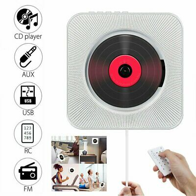 CD Player FM Radio Wall Mounted Stand Bluetooth Music MP3 Remote Control Stereo • 36.96£
