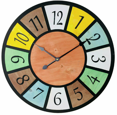Multicoloured Wood Wall Clock Shabby Chic Design 58cm • 24.99£