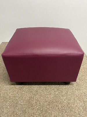 Footstool / Pouffe / Stool Plum Red Faux Leather British Made Fabric • 43.95£