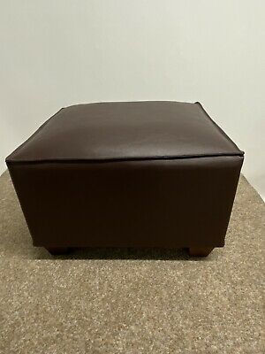 Footstool Stool Pouffe Brown Faux Leather Pillow Edge UK Made • 63.50£