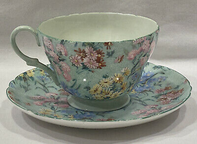 Shelley Melody 13453 Green Chintz Cup And Saucer • 40.22£