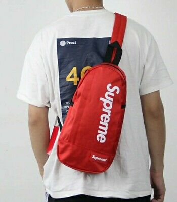 $ CDN90.23 • Buy Red Supreme Crossbody Single Strap Backpack Bag *brand New - Fast Shipping*