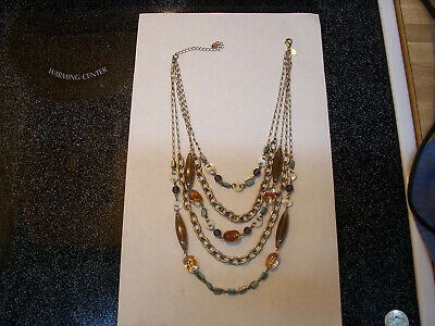 $ CDN5 • Buy Signed Lia Sophia 5 Strand Silver Tone Chain Necklace With Mop Shells/ Glass