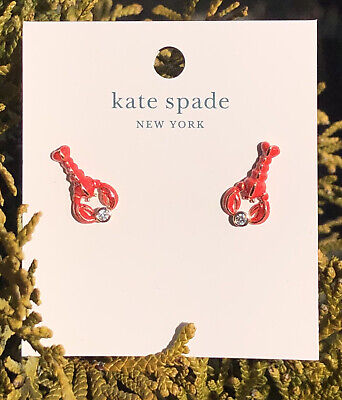 $ CDN44.51 • Buy Kate Spade Love Lobster Studs Earrings Red/rose Gold New NWT