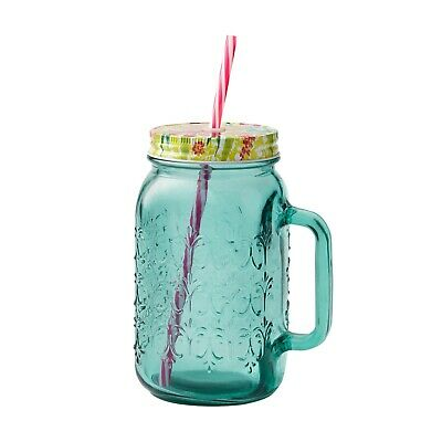 The Pioneer Woman 32 Oz. Teal Mason Jar Floral Lid And Pink Straw • 10.82£