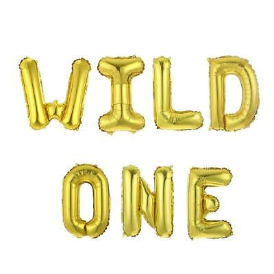 AU13.99 • Buy  WILD ONE Foil Balloon Banner16  Gold Animal Theme 1st Birthday Party Decoration