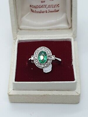 STUNNING EMERALD & DIAMOND Art Deco Style Ring  • 895£