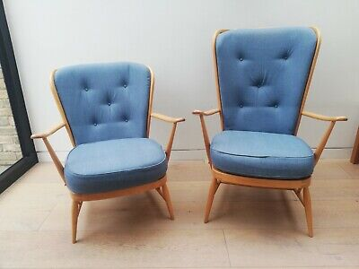 Vintage Mid Century Ercol Windsor Tall Back Easy Chair 478 • 390£