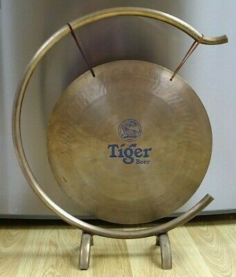 Dinner Table Big Brass Gong On Brass Stand • 20£