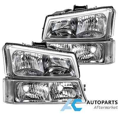 $68.99 • Buy For 03-06 Chevy Silverado Avalanche Headlight Lamps Clear Corner Chrome Housing