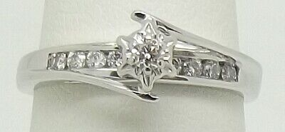 AU474 • Buy Solid 9ct White Gold Natural Diamond Engagement/dress Ring - Size N