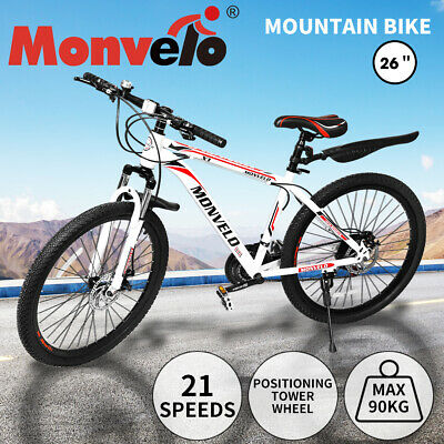 AU259.99 • Buy 26'' Mountain Bike 21 Speed Bicycle Front Suspension Men Carboon Steel Red Wihte
