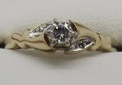 AU474 • Buy Solid 9ct Yellow Gold Natural Diamond Dress/engagement Ring - Size L