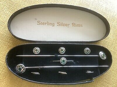 Antique Silver Rim Hat Pin / Brooch & Button Set - Boxed • 52£