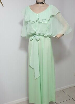 AU45 • Buy Vintage 70s Dress Pale Green Sz 10 B38 W28 H40 Retro Clothing Ladies Party