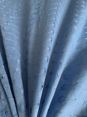 £5.99 • Buy Wide Embroidered Fabric,100% Cotton Broderie Anglaise, Blue 155cm Sold By Metre