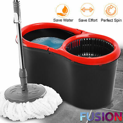 £11.95 • Buy 360° Spin Mop Bucket Plastic Wringer Microfibre Mop Head Set Spinning Cleaning