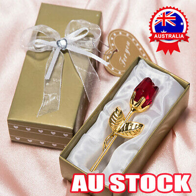 AU12.76 • Buy Lover Rose Flower Leaves Crystal Valentine Day Gift With Box For Girlfriend AUS