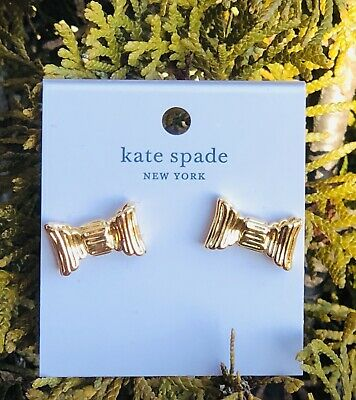 $ CDN44.79 • Buy Kate Spade All Wrapped Up Bow Stud Earrings Gold Plated Crossgrain Ribbon +pouch