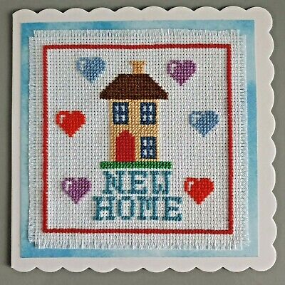Hand Made Cross Stitch New Home Card - Finished Project • 3.50£