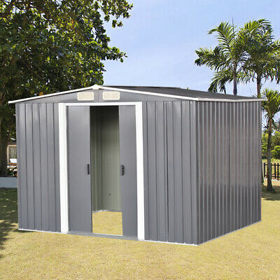 New 10 X 8 FT Metal Garden Shed Apex Roof Outdoor Storage Sheds WITH FREE BASE • 439.99£