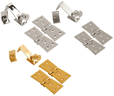 £6.89 • Buy Heavy Duty Counterflap Hinges & Catch Chrome Brass Counter Flap Bar Hinge Catch