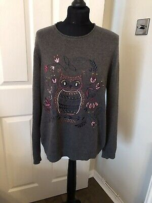 Ladies Grey Mantaray Jumper With Owl Motive Size 16 • 10.50£